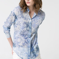 Blue Floral Print Long-Sleeve Collar Chiffon Blouse