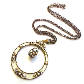 Vintage Tura Enameled Rhinestone Pendant Necklace White Milk Glass Aurora Borealis Christian Dior Brass Gold Tone Collectible Rare Gift