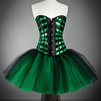 Custom Size Black and Emerald Green Burlesque tulle corset Prom dress