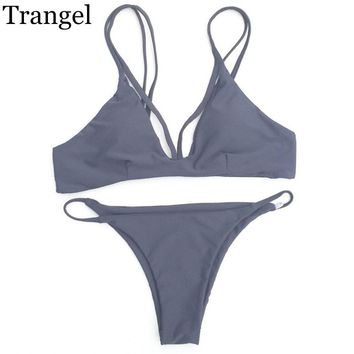new Swimwear Bikini Reversible Swimsuit Women Bathing suit Seamless Beachwear Gray Green