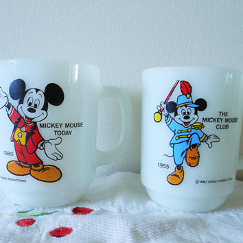 Pair Vintage Mickey Mouse Milk Glass Mugs, Anchor Hocking 1980's Pepsi Promotional Disney Milk Glass Coffee Mugs, 1955 Mickey, 1980 Mickey