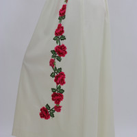 White floral skirt embroidered boho dress vintage 1970s rose appliqu̩ cocktail party roses motif Medium