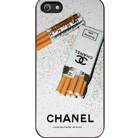 Girly White Glitter Chanel Cigarettes Packet iPhone 5s For iPhone 5/5S Case