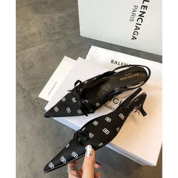 Balenciaga Knife Mules Black BB Pointed Toe Satin Mule With Kitten Heel