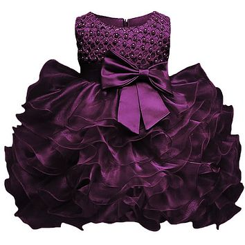 Multi-Tiered Evening Ball Gown Big Bowknot Decoration Dress For Newborn Baby Girls 2017 Summer Baptism Cake Dresses For Infants