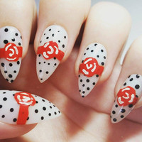 Rockabilly acrylic nail art - Hand painted red rose nail art with black polka dots and white false finger nails - glue included