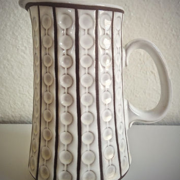 Vintage 60's Geramano Pitcher White Stoneware with Geometric Pattern