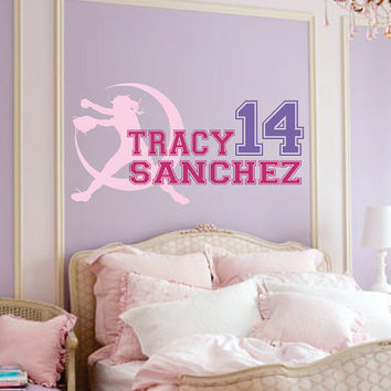 "Girls Softball Name Decal - Nursery - Team - Boy Baseball or Teen Girls Room - Wall Decal 22""H x 46""W"