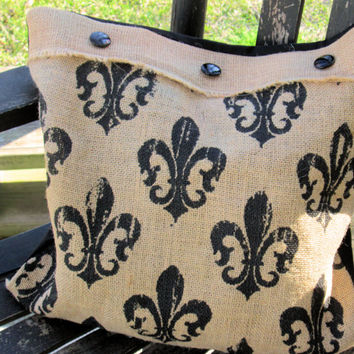 Fleur De  Burlap Throw Accent Pillow