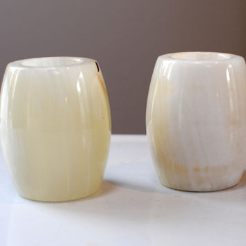 post modern minimalist alabaster/white marble candle holders - holds votive or candlestick