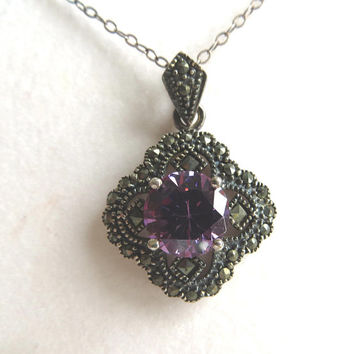 Art Deco Amethyst Necklace Sterling Marcasite Faceted Amethyst Center Stone, Vintage Sterling Necklace 20 Inch