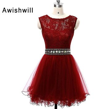 Red Burgundy Blue Black Prom Dresses Short 2018 Hot Sale Beaded Lace Tulle Sleeveless Party Gowns Vestidos de Fiesta Cortos