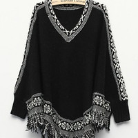 'The Lillian'  Bat Sleeve Tassel Knitted Top