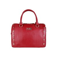 Cavalli Class Red Leather Handbag