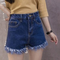 VONEHL5 Casual High Waist Denim Shorts