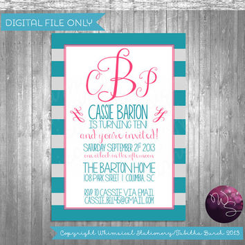 "Children's Birthday Invitations - ""Cotton Candy Dreams"" (Printable File Only)"