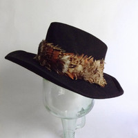 Black Cowboy Hat  - Feathered - Crease Crown Wavy Wide Brim - Wool Felt Cap - Southwestern Western Southern - Lords