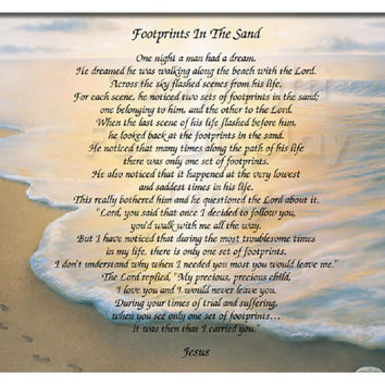 8.5x11 Inspirational Print Footprints in the Sand poem - Ready to Frame Wall Plaque Gift idea Ocean Beach Scene