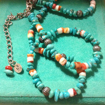 """VINTAGE RELIOS Turquoise Coral Agate Sterling Silver 925 Adjustable Necklace 16"""" 20"""" Carolyn Pollack Signed Navajo Roderick Tenorio Jewelry"""