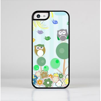 The Colorful Emotional Cartoon Owls in the Trees Skin-Sert for the Apple iPhone 5c Skin-Sert Case