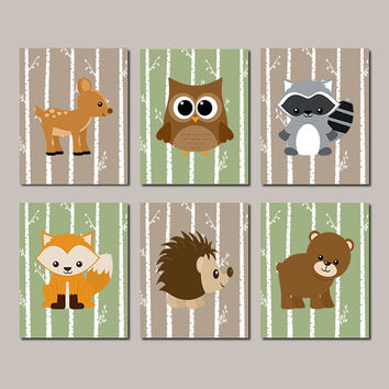 Woodland Nursery Animals Wall Art Decor Boy Forest Birch Tree Set Of 6 Prints Or Canvas