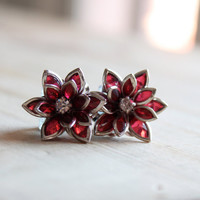 Flower Plugs Size 4g 2g 0g 00g and Up Vintage Inspired Ruby Red w Rhinestone Gauges Size 4 2 0 00 or Pierced Wedding Bridal Wear