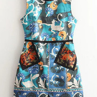 Multicolor Sleeveless Printed Dress