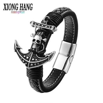 XiongHang 2018 Lastest High Quality Magnetic Clasp Fashion Punk Genuine Leather Man Skull Hook Bracelet For Man Free Shipping