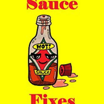 'Hot Sauce Fixes Everything' Food Humor Cartoon - Plywood Wood Print Poster Wall Art
