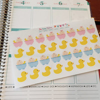 Free Shipping E2 Bath Time rubber ducky bathtub stickers for Erin Condren Life Planner/Plum Paper Planner - set of 32