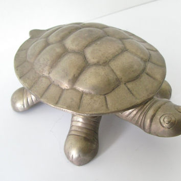 Brass Turtle Trinket Dish Ashtray, Made in India, Ashtray, Stash Box
