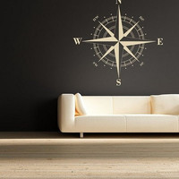 Wall Decal Vinyl Sticker Decals Art Decor Design Compass Rose Nautical Navigate Ship Ocean Live Beach Living Room Bedroom (r206)