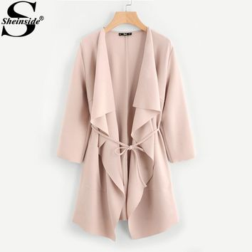 Sheinside Waterfall Collar Pocket Front Wrap Trench Coat Peach 3/4 Sleeve Knee Length With Belts Women Coats Fall 2017 Coat