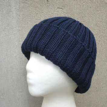 Navy Blue Hat, Hand Knit, Peruvian Wool, Teens Men Women, Watch Cap Beanie