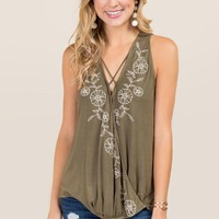 Arlette Floral Embroidered Surplus Tank