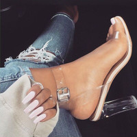 Celebrity Wearing Simple Style PVC Clear Transparent Strappy Buckle Sandals