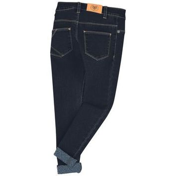 KENZO -  Kids Holiday Edition Skinny Dark Blue Jeans With Abstract Cuff Detail