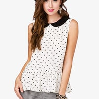 Polka Dot Peter Pan Collar Shirt