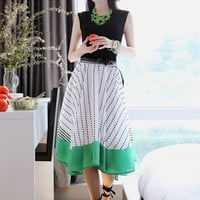 Color Block Dotted Dress