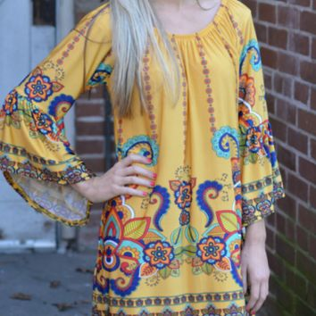 Yellow Holiday Vacation Ethnic Style Summer Beach Dress