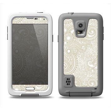 The Tan & White Vintage Floral Pattern Samsung Galaxy S5 LifeProof Fre Case Skin Set