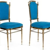 One Kings Lane - Kelly Wearstler: Modern Glamour - Brass  Blue Velvet Chairs, Pair