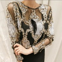 Women crystal Blouses sexy lace beads autumn winter tops and shirts  blusa femme camisa