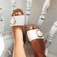 Cream Horseshoe Flats - Shoes by Sabo Skirt