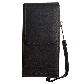 Apple iPhone 6 Premium Leather Vertical Pouch with card slots and rotating belt clip, Black