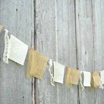 Rustic Wedding Bunting Burlap and Vinyl Lace, Shabby Cottage Bridal Banner, Country Chic Garland, 10Ft Party Decoration, Photo Prop Backdrop