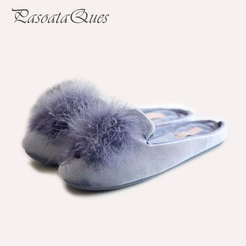 Cute Pompons Women Slippers Home Indoor Women House Shoes Summer Ladies Slides Pasoata