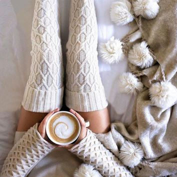 Harajuku Compression Women Stockings Warm Autumn Knit Over Knee Socks Hosiery Medias Pantyhose Thigh High Stockings School Girl
