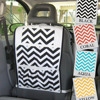 Red Car Organizer- Chevron Zig Zag