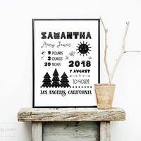 Printable birth announcement template, Modern forest themed nursery decor, Personalized new baby gift, Black and white birth stats wall art